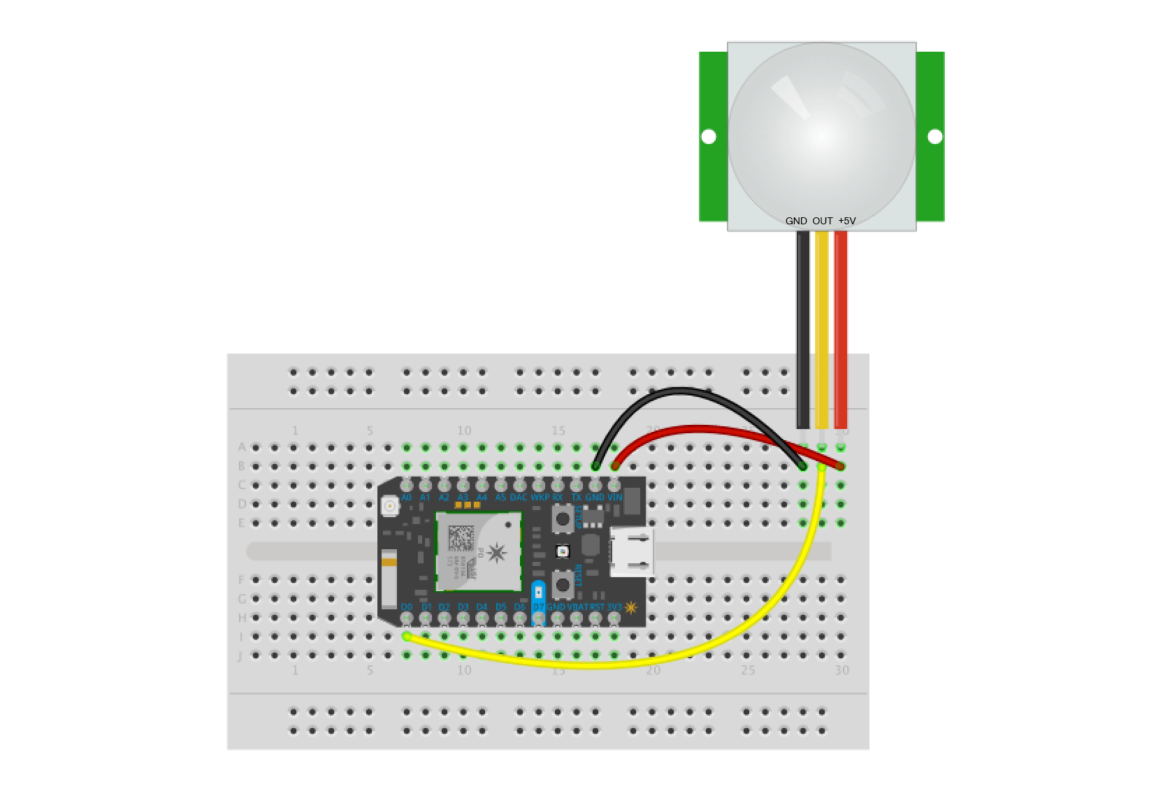 Connecting a PIR sensor to a Particle Photon