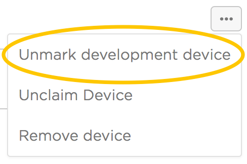 Unmark development device