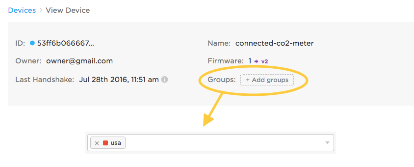 Assign group to device