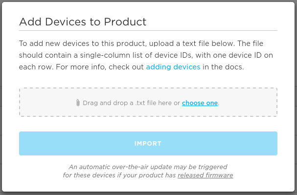 Import devices modal