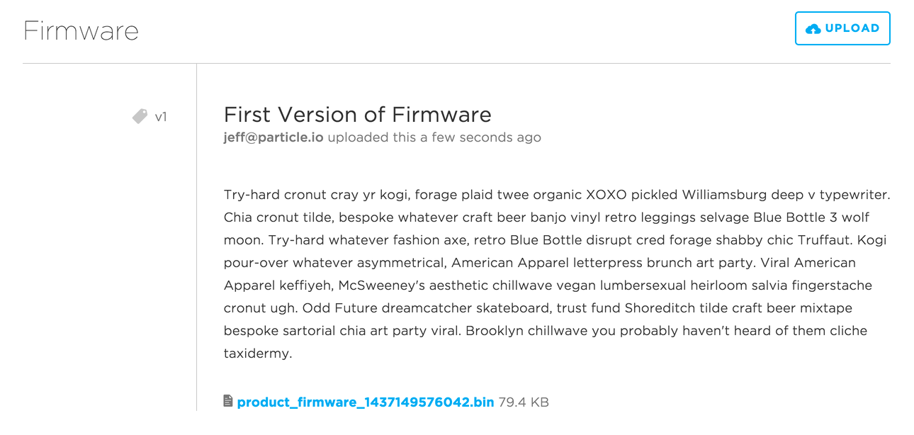 Product firmware version