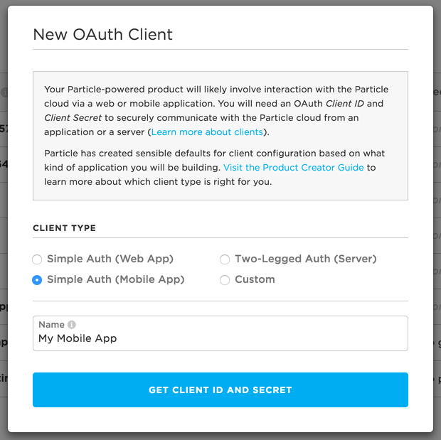 Create Mobile OAuth Client