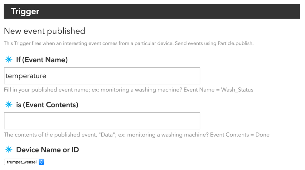 IFTTT settings page