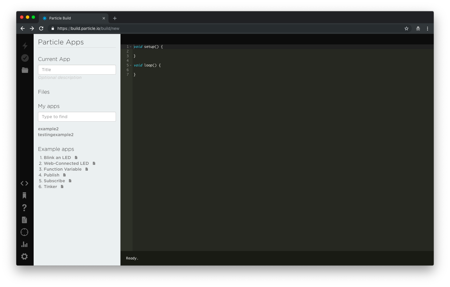 Image of the Web IDE with example code